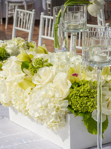 Center Piece of White Roses - Square Vase - Elegant Candle Holders
