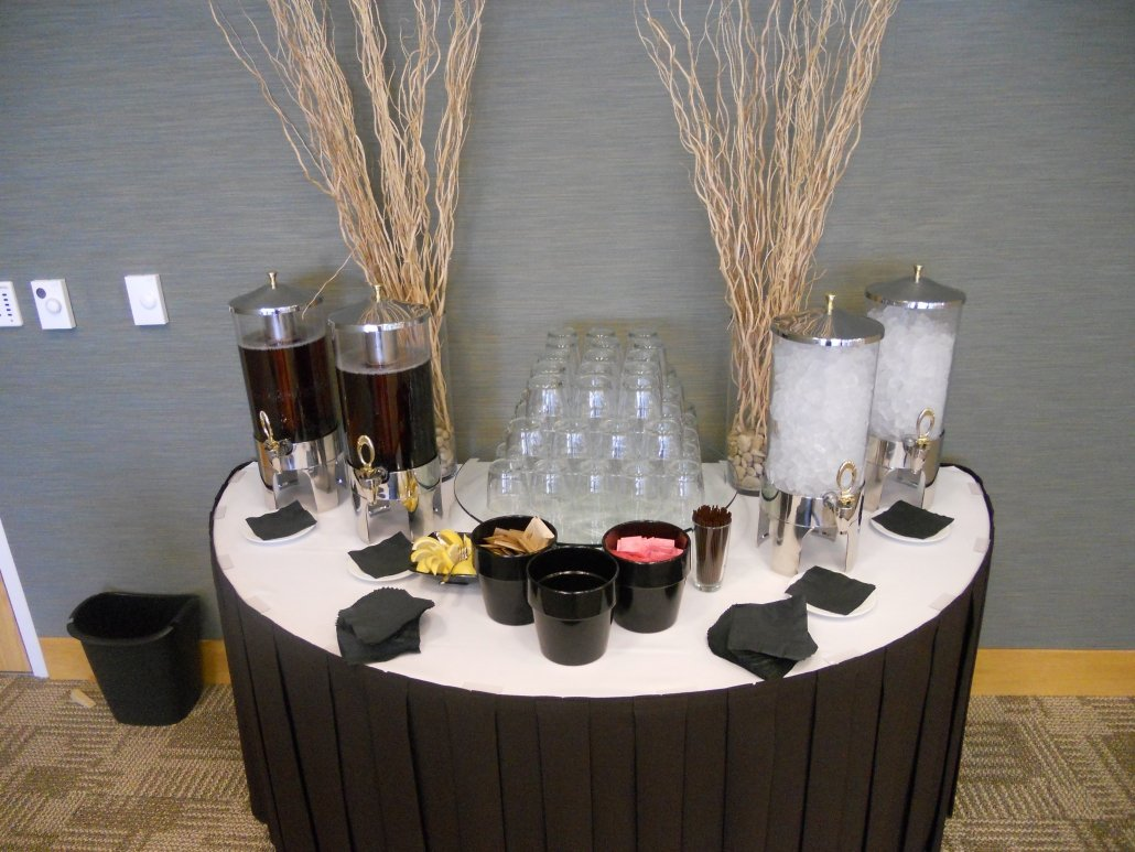 Drink Table - Self serving pitchers. Blank and White Linen.