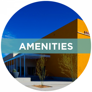 """Image: Exterior of Convention Center, NW corner. Banner titled, """"Amenities"""""""